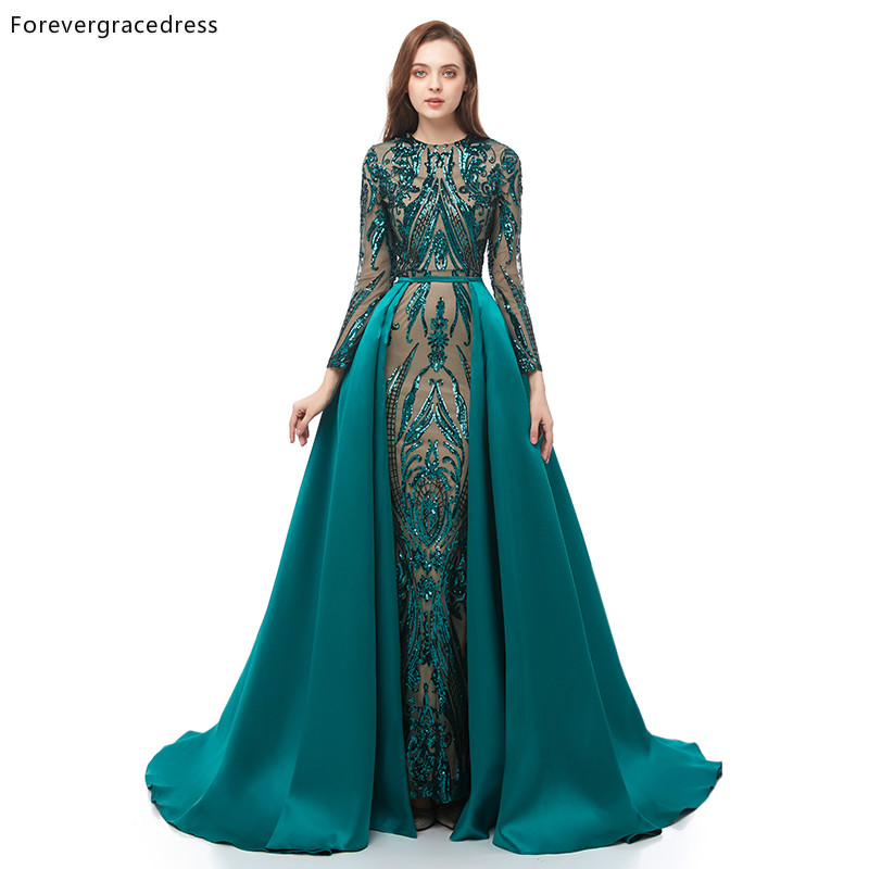 Forevergracedress Green   Prom     Dresses   Detachable Train Long Sleeves Holidays Graduation Wear Evening Party Gowns Plus Size
