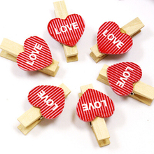 100/200Pieces 3.5x0.7cm Mini Heart Love Wooden Clothes Photo Paper Peg Pin Lovely Craft Clips Home Wedding Decor