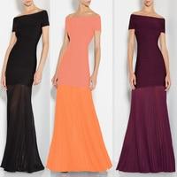 Nowy 2017 kobiety sukienka fabryka burgundy beżowy pomarańczowy długa suknia hl bandaża sukni czarny sukienek hurtownie L-223