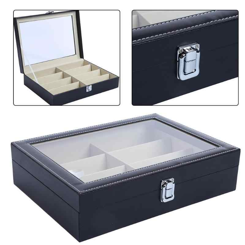 8 Grid Sunglasses Organizer Glasses Storage Box PU Leather Eyeglass Box Portable Travel Glasses Display Box Collector