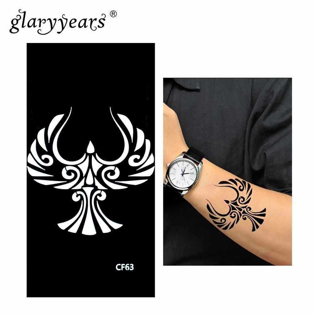 Glaryyears Henna Tattoo Stencil Zwarte Vogel Make Plakken Tekening Body Art 1 Sheet Tattoo Stencil Sexy Product Waterdichte HN-CF63