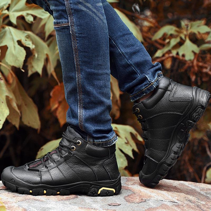 En Black De brown Plein Air Chaussures Bottes Cuir Mâle Neige glissement Non Hommes Botte Cheville Véritable High Sneakers Hiver Étanche Adulte Top xqEwRSn