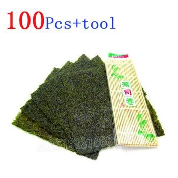100 unids/set Nori algas marinas + manteles de bambú enrollables nori tool,...