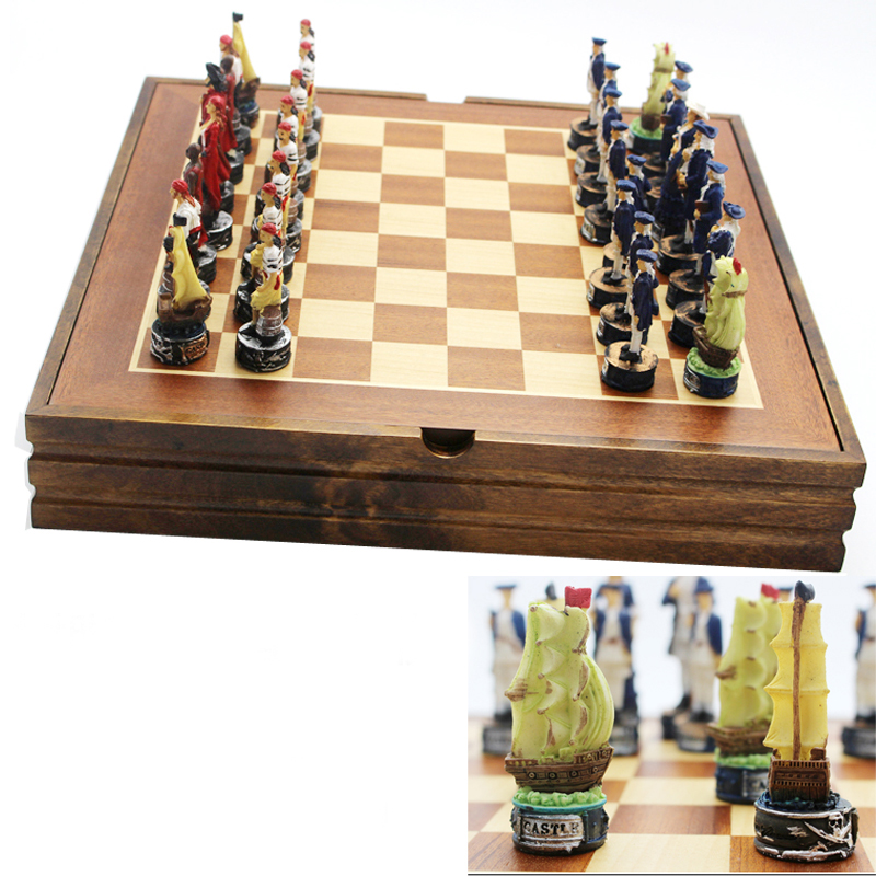 BSTFAMLY Pirate series chess set game, portable game of international chess, resin chess pieces and wood chessboard, LA43 chocolate кошелек chocolate garvey tyvek one size