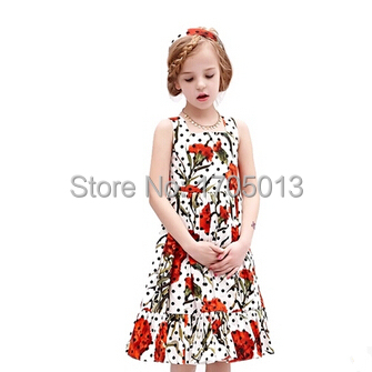 ФОТО Free shipping Exquisite Princess round collar pleated Wave point pleated Ruffled Hemline Cotton print Flower Girl Dress
