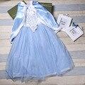 Navidad Niñas Elsa Vestido Princesa vestidos de Fiebre frock Diseños Chal Vestido traje disfraz infantil Para 2 4 6 8 10 12 Años