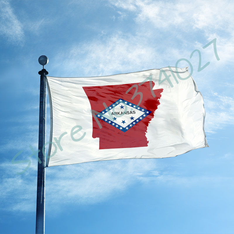 3x5 ft Flag (90x150 cm) custom <font><b>Arkansas</b></font> state flag with <font><b>Arkansas</b></font> map 100D polyester flag banner image