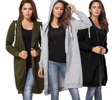 hot deal buy women hoodies 2018 autumn winter thickening  middle length  caps  zipper  sweatshirts loose coat female hoodies sweatshirts