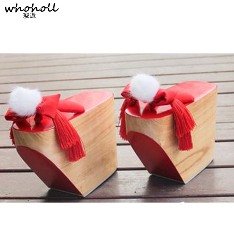 WHOHOLL COS Geta Onmyoji Shiranuhi Cosplay Costumes Japanese Clogs Wooden High Quality Stage Shoes 10cm Thick