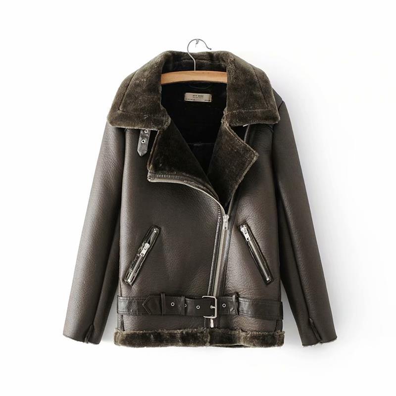 Warm women's winter motorcycle velvet jacket female short 34