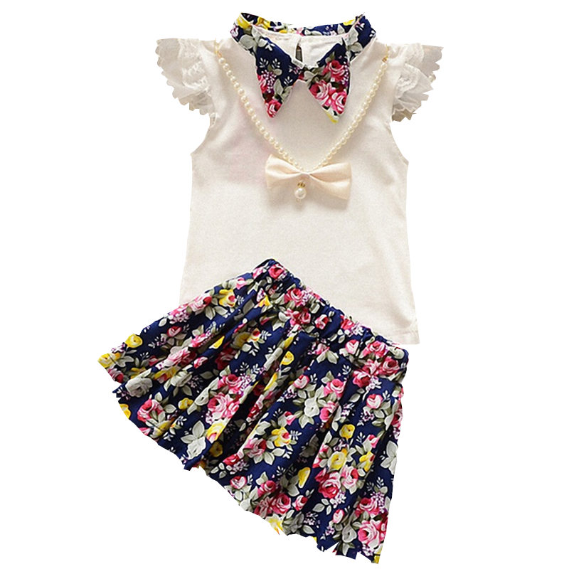 2018 Summer Fashion 2 Pc Kids Girls Clothes Floral Printed T-shirt +Skirt Clothing Sets For Baby Girl Casual Cotton Costumes