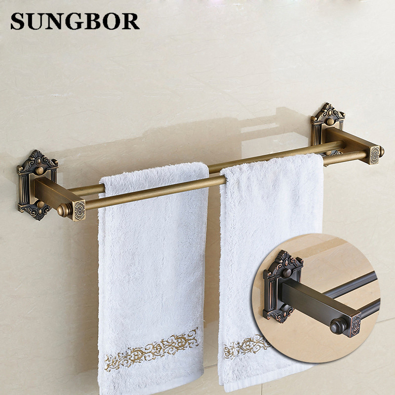 Antique Bathroom Towel Bars European Brass Double Towel Bar Bathroom Towel Rack Wall Mounted Bathroom Accessories HY-93811F european antique brass double towel bars luxury towel rack towel bar wall mounted towel holder bathroom accessories zl 8711f