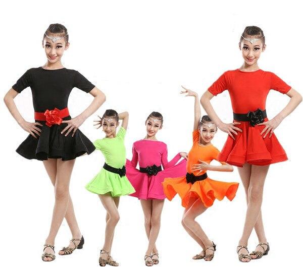 2018 rumba samba children samba cha cha tango skirt standard salsa girls latin dresses for dancing ballroom dance dress Spandex