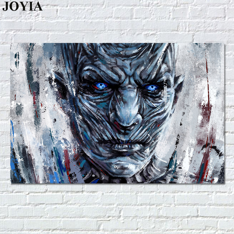 Night King Art Prints, White Walkers Abstract Painting Picture, Game of Thrones Poster For Home Room Bar Bedroom Wall Decor