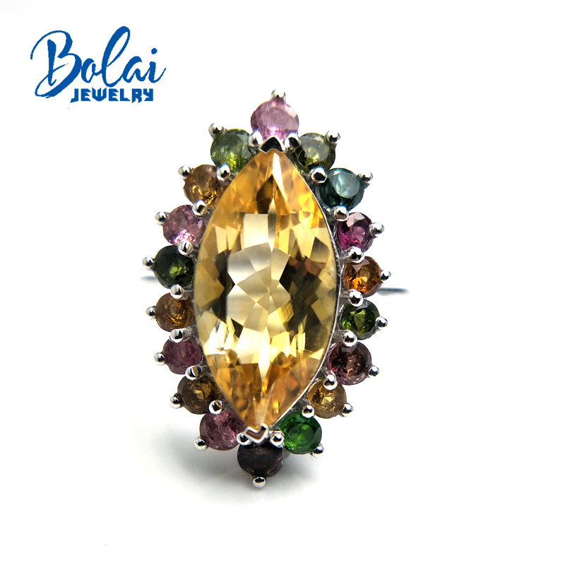 Bolaijewelry,Colorful shiny 3.3ct natural Gemstone ring citrine fancy color tourmaline Fine jewelry 925 sterling silver for ladyBolaijewelry,Colorful shiny 3.3ct natural Gemstone ring citrine fancy color tourmaline Fine jewelry 925 sterling silver for lady