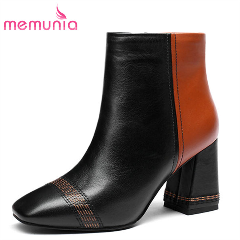 MEMUNIA 2018 popular genuine leather ankle boots for women mix color zipper autumn winter boots thick high heels fashion shoesMEMUNIA 2018 popular genuine leather ankle boots for women mix color zipper autumn winter boots thick high heels fashion shoes