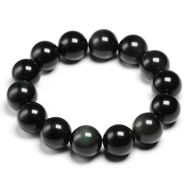 Natural Colorful Obsidian Bracelet Jewelry Stone Beads Round Bracelet Energy Bangle For Men & Women Valentine's Gift New Design 1