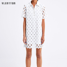 2019 New Sexy Hollow Out Dress for women Short Sleeve Lace White Dress Spring summer Casual Loose Midi Shirt Dress Vestidos цена и фото