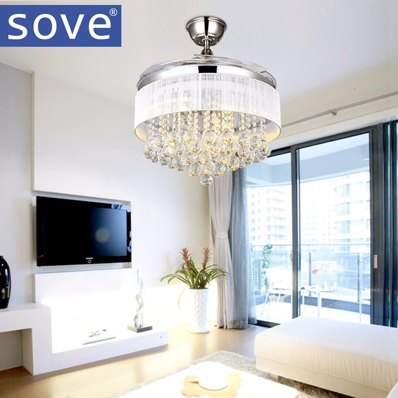 SOVE LED Modern Crystal Ceiling <font><b>Fans</b></font> With Lights Folding Ceiling <font><b>Fan</b></font> Remote Control Ceiling Light <font><b>Fan</b></font> Lamp Ventilador De Techo