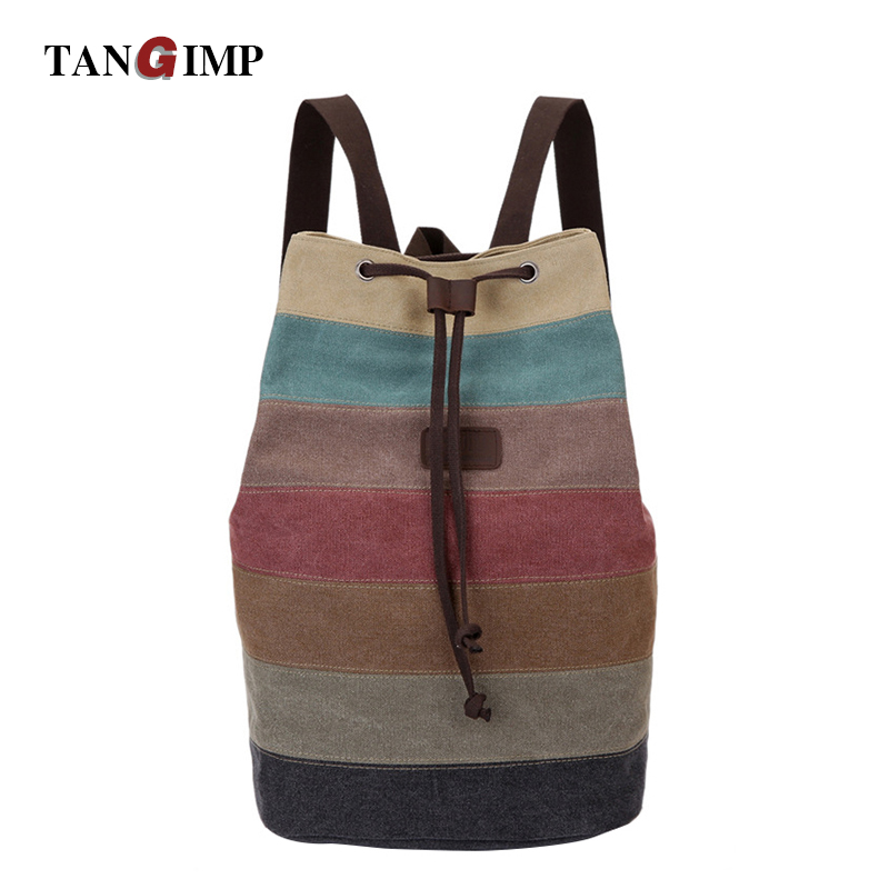 TANGIMP Ethnic Backpacks Colorful Striped Women Men Rucksack Ladies Drawstring Bucket Mochilas School Bags Canvas Rucksack tangimp drawstring backpacks embroidery dear my universe cherry rocket printing canvas softback man women harajuku bags 2018