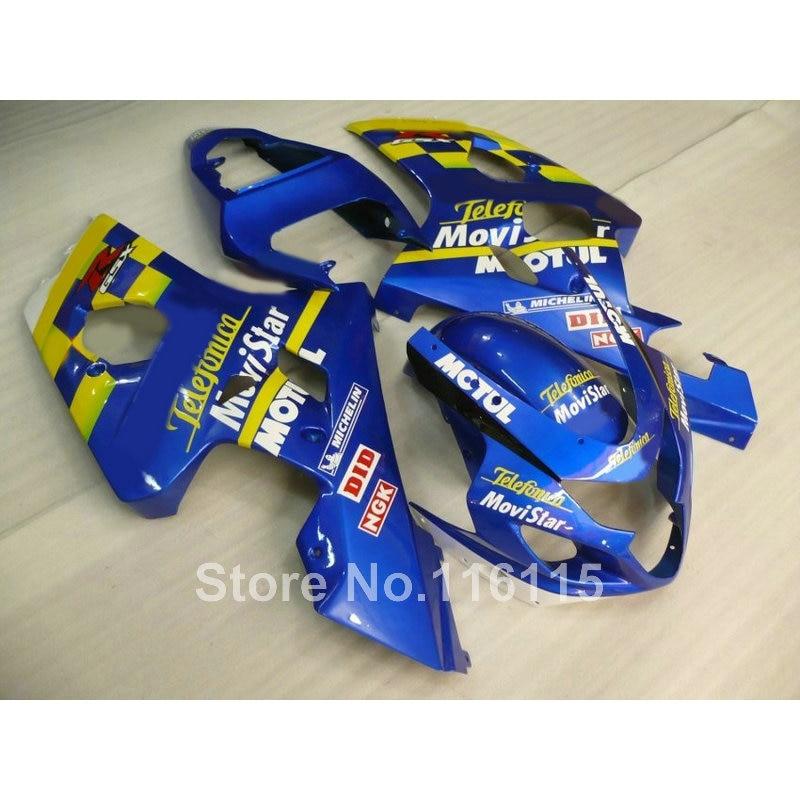 Fairing kit for SUZUKI GSX-R600/750 K4 2004 2005 aftermarket GSXR600 GSXR750 04 05 yellow blue Movistar fairings set E1G7