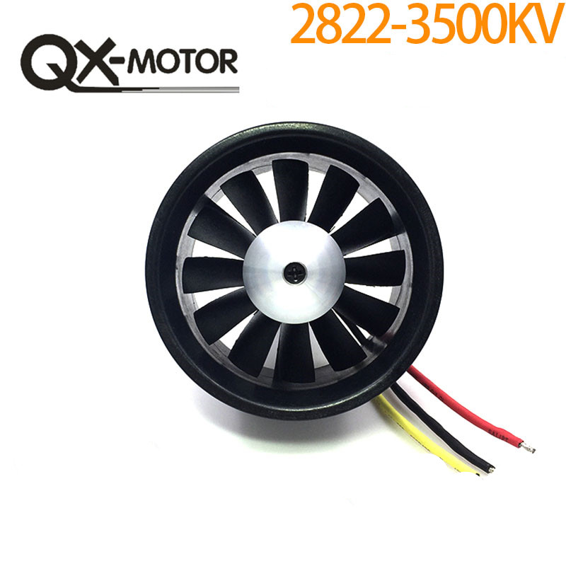 QX 64mm EDF with 12 Ducted Fan Jet 3S-4S Motor QF2822 3500KV/ 4300KV Brushless Motor for RC Airplane F22131/2
