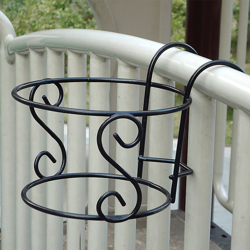 Подвесная рамка с цветами для наружного ограждения Декор круглые подвесные вешалки цветочный горшок Висячие - Цвет: Black