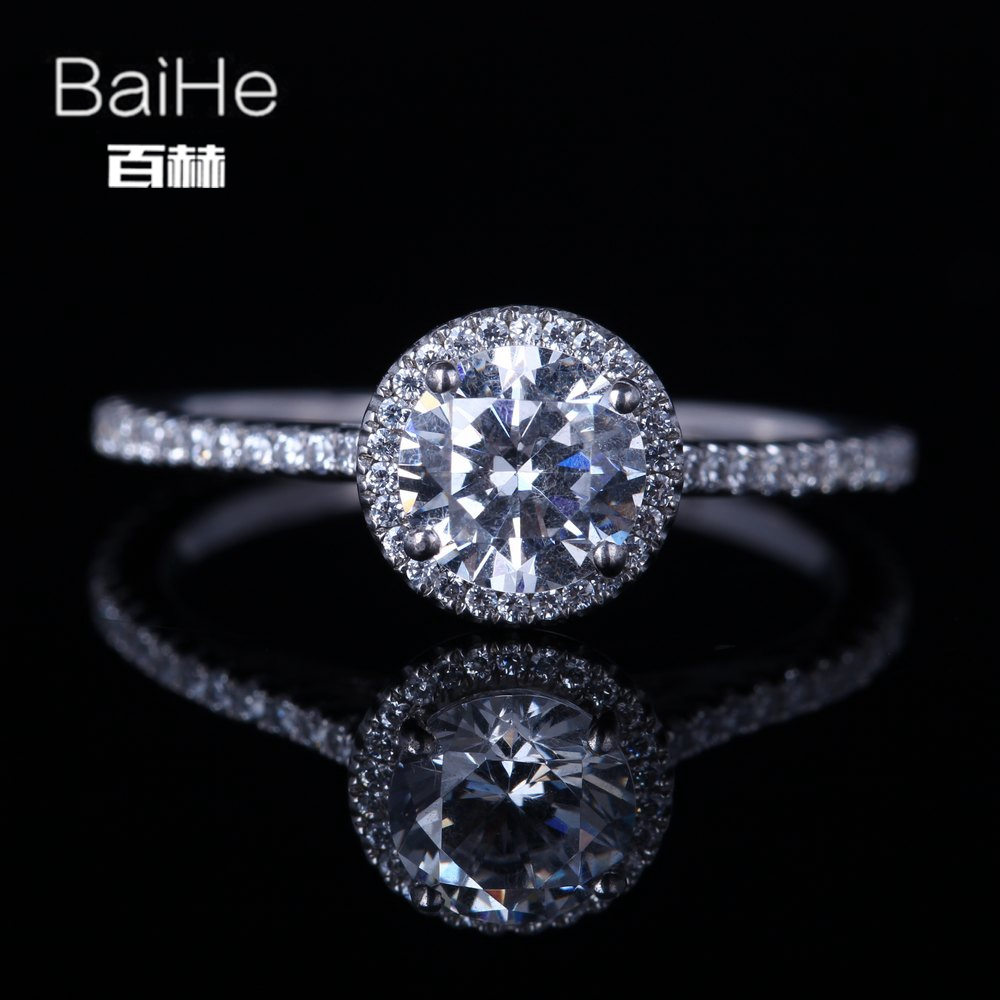 BAIHE Sterling Silver 925 1ct Certified Flawless Genuine AAA Graded Cubic Zirconia Engagement Women Trendy Fine Jewelry Ring