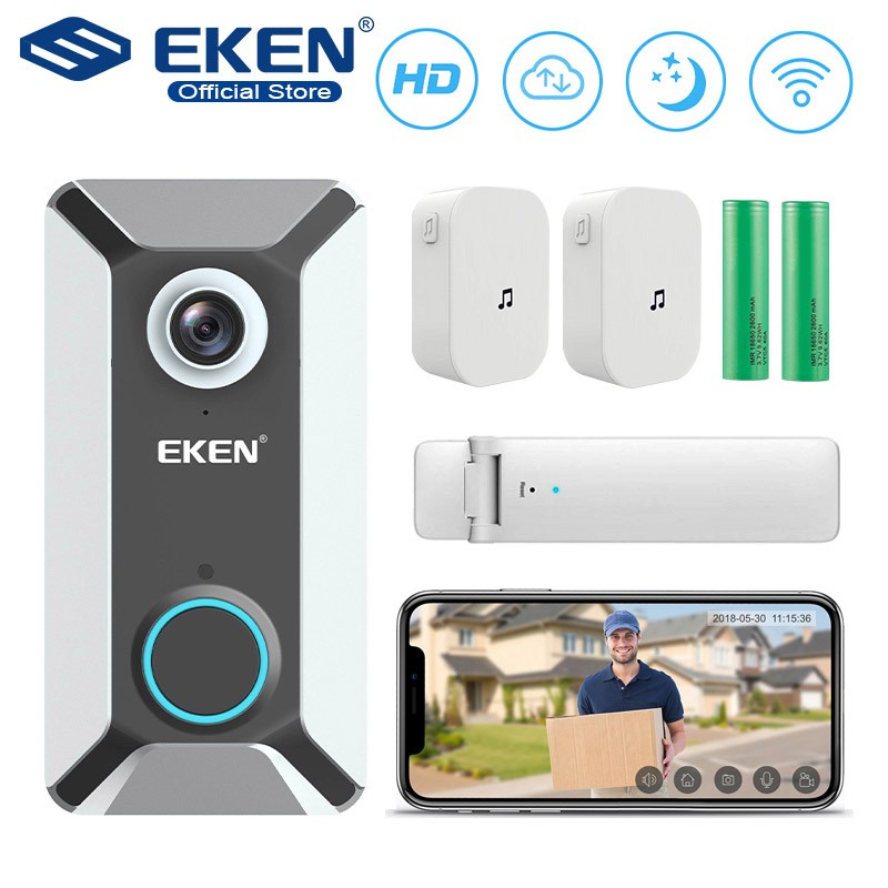 EKEN V6 wifi Doorbell Smart Wireless 720P video camera Cloud storage door bell cam waterproof home security house bell SilverEKEN V6 wifi Doorbell Smart Wireless 720P video camera Cloud storage door bell cam waterproof home security house bell Silver