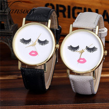 Vansvar Watch Candy Color Eyes closed pattern Male And Female Strap Wrist Watch Stylish Unique Design Simple Style Watch M24
