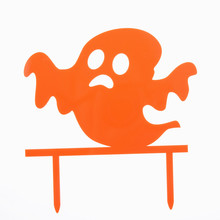 1pc Halloween Ghost Cake Flags Orange Acrylic All Saint's Day Cake Toppers Halloween Party Cake Decoration Supplies iwish halloween wind up green ghost goblin zombies jump vampire winding walking frankenstein jumping kids toys all saints day