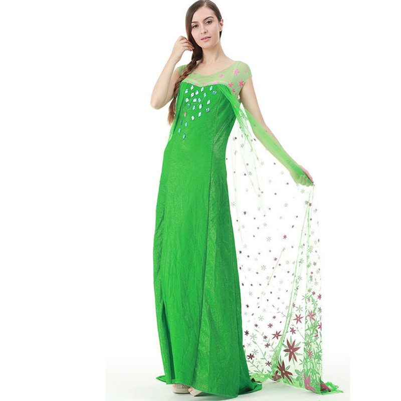 d28f3746afcc 2015 New Summer party Dress Adult women elsa costume fever green Princess  Elsa Anna Vestidos baby girls lace dress kids clothes-in Movie   TV  costumes from ...