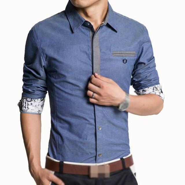 9be53ce005eade Camicia degli uomini Camicia Casual Manica Lunga Moda Camicie Slim Denim  Azzurro Blu Navy