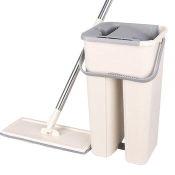 Płaskie wyciskanie Mop z natryskiem wolne ręczne wyciskanie Mop ze stali nierdzewnej z wiadrem Spin czyszczenie Mop z mikrofibry strona główna podłoga w kuchni czyste