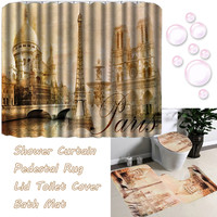 Big Size Classic Waterproof Shower Curtain+Pedestal Rug+Lid Toilet Cover+Bath Mat Eiffel Tower Non slip Bathroom Home Decor