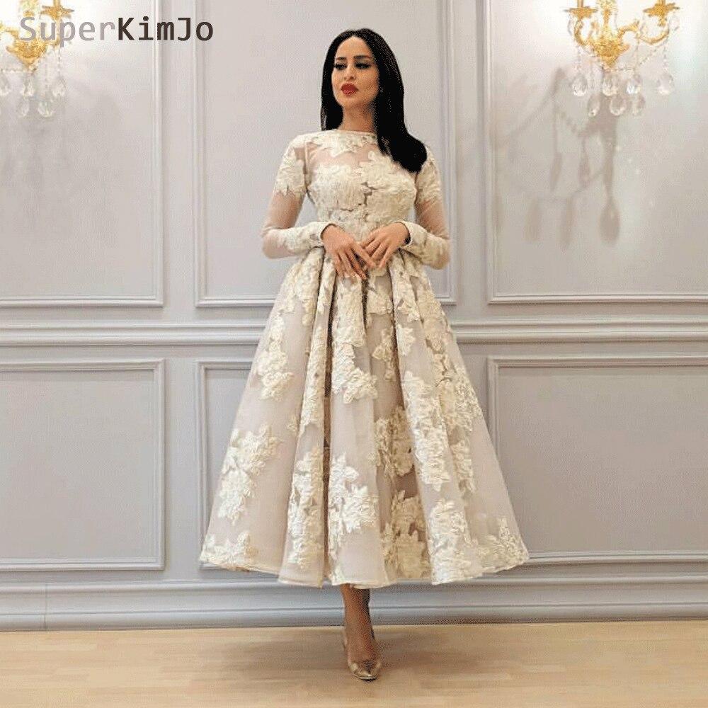 SuperKimJo Vestido De Festa Long Sleeve Ankle Length Prom Dresses 2020 Elegant Arabic Puffy Prom Gown Gala Jurk