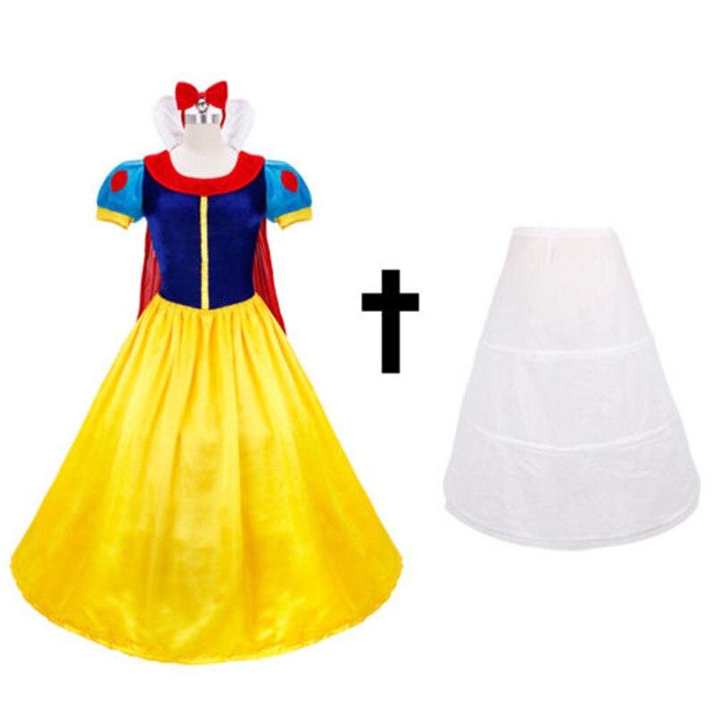 Drop Shipping Adult Costume+Petticoat+Headwear Snow White Princess Fancy Dress Halloween Costume XS-2XL