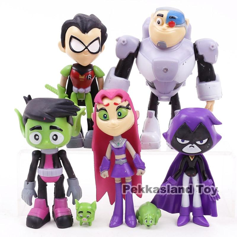 7PCS//Set Teen Titans PVC Action Figures Go Robin Cyborg Raven Beast Boy Kid Toys