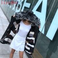 2018 natural fur coat fashion Jacket mink liner raccoon Silver Fox collar Female winter warm Park Overcoat Disassemble black