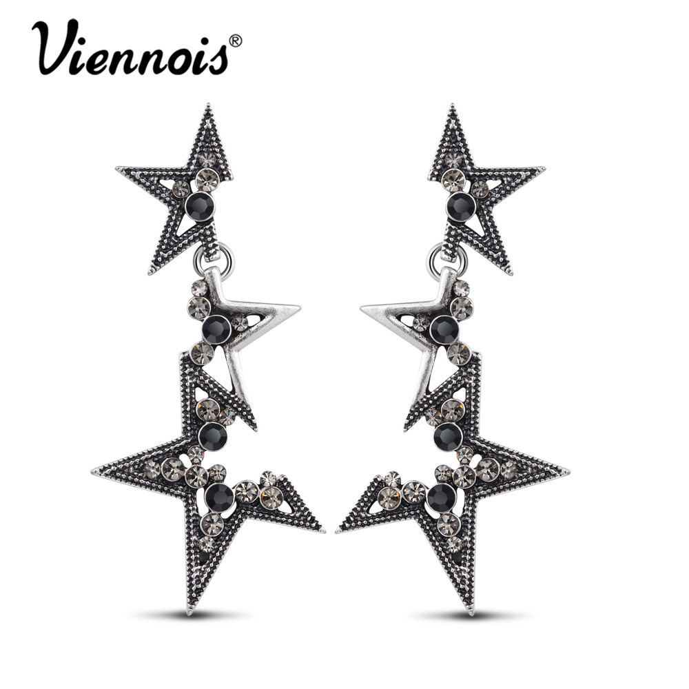 Viennois Star Drop Earrings For Women Vintage Silver Color Abstract Rhinestone Geometric Long Dangle Earrings Fashion Jewelry цены онлайн