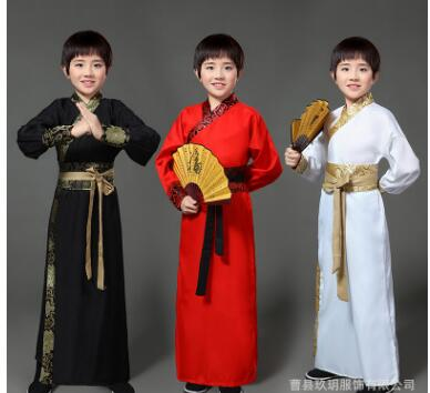Chinese National Hanfu Black Ancient China Costume Hanfu Kids Clothing Traditional National Tang Suit Stage Costumes