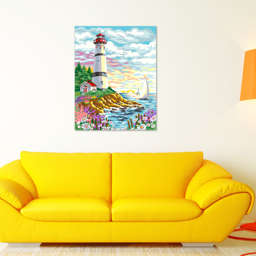framed DIY Oil Painting By Numbers Hand painted The lighthouse at ...