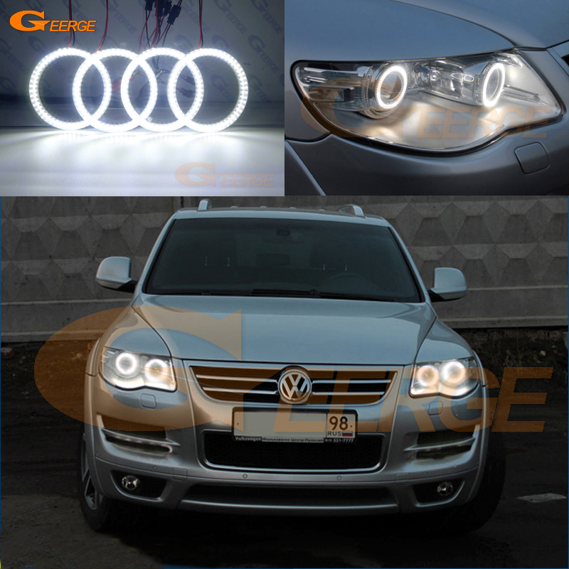 For Volkswagen VW Touareg 2007 2008 2009 2010 Bi-Xenon headlight Excellent Ultra bright smd led Angel Eyes kit DRL 2x no errors xenon white 50w p13w c ree led bulbs drl for 2008 12 audi b8 model a4 or s4 with halogen headlight trims