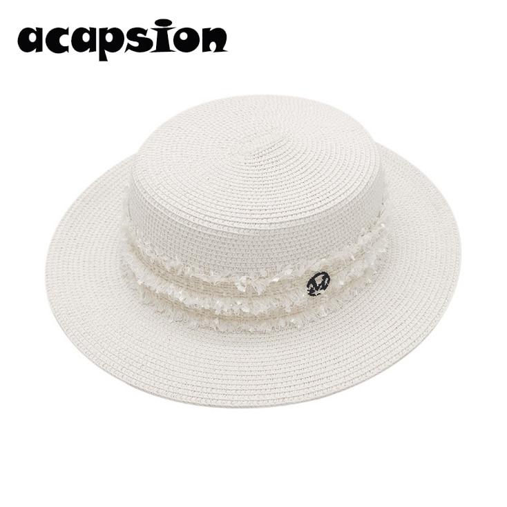 Women Straw Hats Summer Beach Hat Female Formal Panama Foldable Cap Women Flat Brim Straw Cap Girls Sun Hat Sombrero Verano A116 in Women 39 s Sun Hats from Apparel Accessories