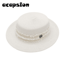 Women Straw Hats Summer Beach Hat Female Formal Panama Foldable Cap Flat Brim Girls Sun Sombrero Verano A116