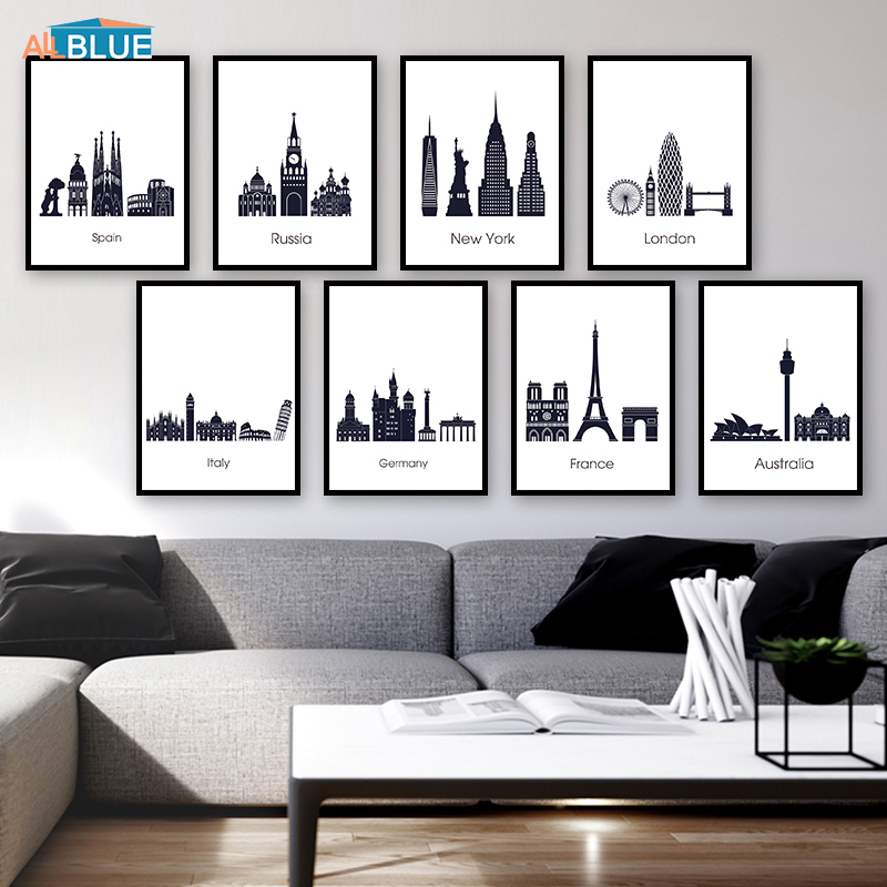 Famous Building Canvas Painting World Travel New York London Paris City Poster Black And White Wall Art Picture For Living Room