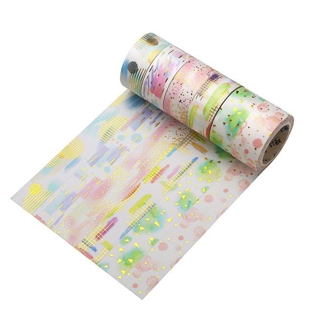 Feuille Washi ruban aquarelle sans couture modèles papier masquage rubans japonais paillettes Washi ruban bricolage Scrapbooking autocollant