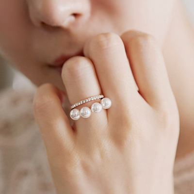 double layer elegant simulated pearl Rings For Women gold-color new fashion wholesale cute gift