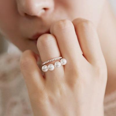 Dupla camada elegante simulado pérola Anéis Para As Mulheres de ouro-cor nova moda atacado bonito presente