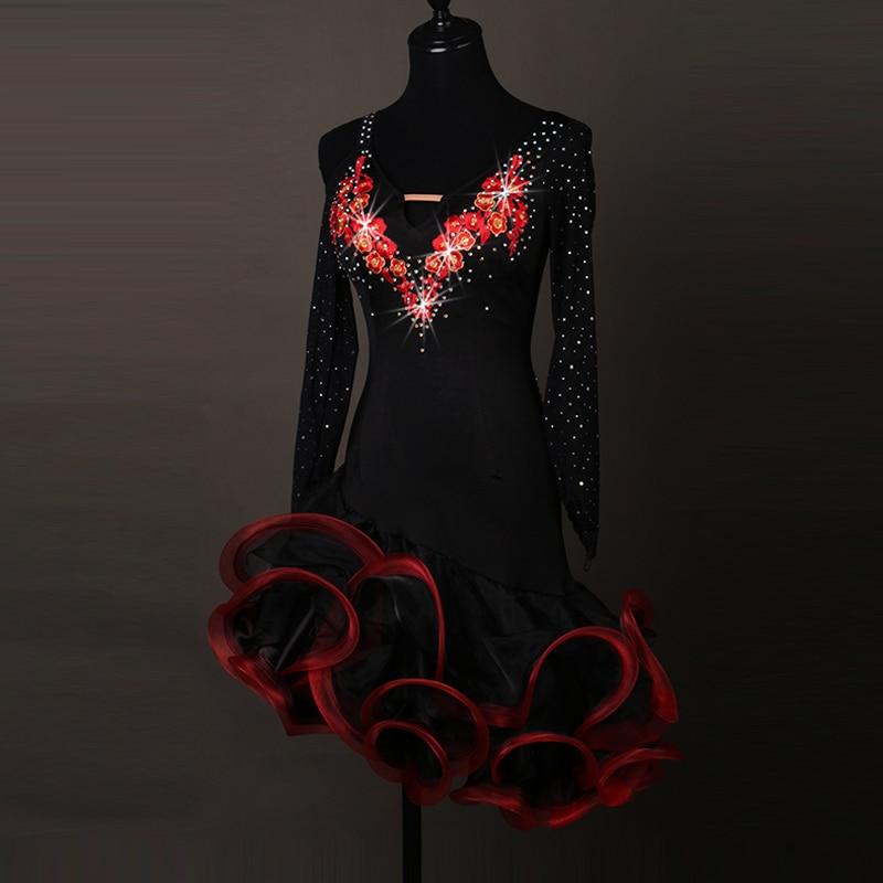 סקסי השמלה הלטינית ריקודים בגדים לנשים רקדנית לטינית רקמה שרוולים ארוכים שמלות בנות הלטינית ריקוד השמלה cha-cha ריקוד השמלה